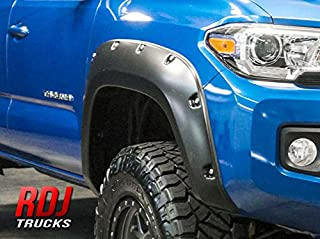 RDJ Trucks PRO-Offroad Bolt-On Style Fender Flares - Fits Toyota Tacoma 2016-2020 - Set of 4 - Smooth Paintable OE Black