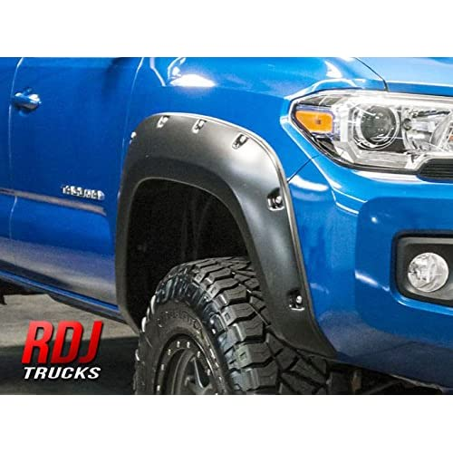 RDJ Trucks PRO-Offroad Bolt-On Style Fender Flares - Fits Toyota Tacoma 2016-2020 - Set of 4 - Aggressive Textured Black