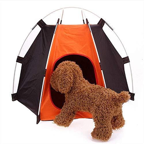 QQW Hundebett Pet Dog House Cage Hund Zelt Einfach Zu Bedienen Hexagonal Zaun Gehäuse Waschbar 65 * 55 * 25 (Coffee Orange)