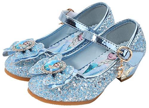 KANDEMY Mädchen ELSA Schuhe mit Absatz Glitzer Prinzessinnen Schuhe mit Pailletten Kinder Sandalen für ELSA Kleid Gr. 24-36 Blau Pink Silber