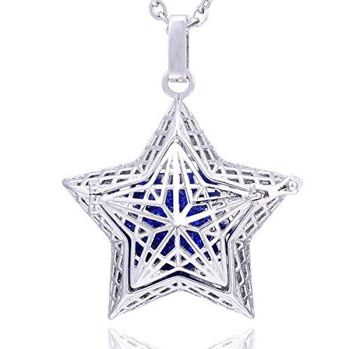 Morella Collar ángel de la Guarda de Acero Inoxidable 70 cm con Colgante Estrella de Buena Suerte y Bola de resonancia de circonita de Color Azul Ø 16 mm para Damas en Bolsa para Joyas