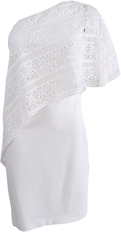 Lauren Ralph Lauren Womens One Shoulder Lace Overlay Special Occasion Dress