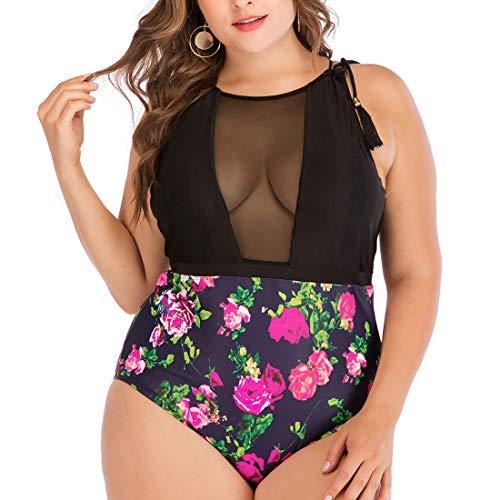 GWELL Damen Sexy Monokini Mesh Einteiler Schwimmanzug Große Größe Bademode Swimsuit Badeanzug für Schwimmen Baden Rose Motiv Gelbrot 4XL