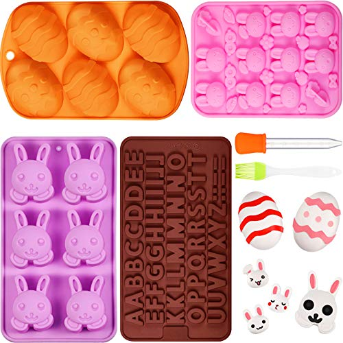 6 Pieces 3D Easter Rabbit Egg Mold Set Including Bunny Egg Chocolate Moulds and Letter Baking Mold with Silicone Liquid Dropper and Basting Pastry Brush for Chocolate Candy Cake Soap