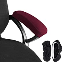 Melaluxe 2 Set Polyester Removable Office Chair Armrest Covers Arm Rest Slipcovers (Length-30cm) (Red)
