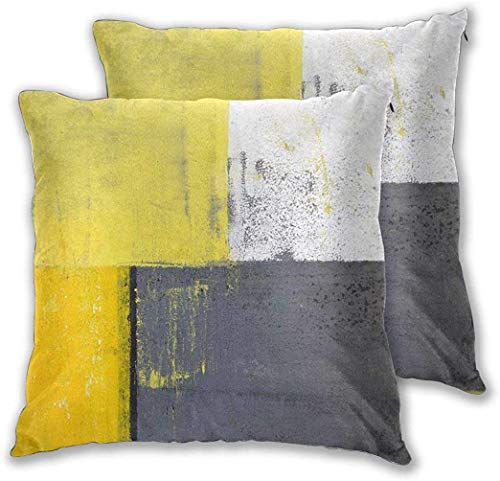 PageHar Grey and Yellow Street Art Modern Grunge Square Throw Pillowcase Set of 2 for Sofa Cushion Cover Decorative Square Pillow Case Covers 22 x 22 Inch