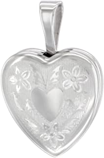 Very Tiny 1/2 inch Sterling Silver Heart Locket Necklace for Girls Floral Engraving, 16-20 inch