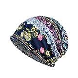 Dwevkeful Turbantes para Mujer Cancer,Pañuelo Impresión Bohemia Bufanda Musulmana Gorro de Punto Bombines para Càncer Chemo Oncológico Pèrdida de Pelo Cabello