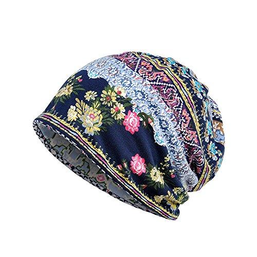 Susenstone Chapeau Imprimé Unisexe à Volants Cancer du Chapeau Hiver Bonnet en Coton Vintage Mode éCharpe Col Turban (Taille Unique, Bleu)