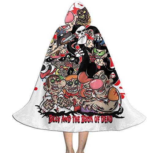 NUJSHF Capa con capucha para nios con diseo de aventuras de Bill y Mandy Billy y el libro de los muertos, unisex, para Halloween, Navidad, fiestas, disfraces, ropa exterior