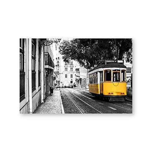 Lissabon Portugal Stadtplan Poster druckt portugiesische Fliesen Blaue Tür Vintage Wandkunst Leinwand Malerei Stadt Fotografie Home Decor-60x80cm