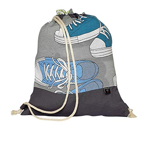 NORD SAGA GREY Drawstring Bag for Kids, School, Gym, Rucksack for Boys Girls, Backpack,100% Cotton, Handmade SPAIN (grey)