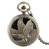 Reloj de bolsillo KJFB Vintage Bronce Hueco Mano de Águila Reloj de Bolsillo Mecánico Reloj de Bolsillo Cadena Esfera Negra Azul Números Romanos Relojes Hombre Regalos (Color: Bronce)