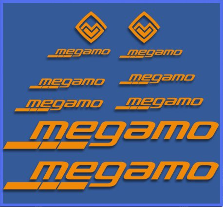 Ecoshirt QE-BJ2S-HQP8 Pegatinas Megamo Fram Dr1117 Vinilo Adesivi Decal Aufkleber Клей MTB Stickers Bike, Naranja