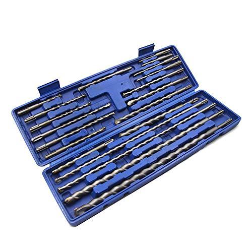 Adaskala 20pcs 1 Box SDS Plus Rotary Drill Bits Electric Hammer Drill Set Concrete Masonry Hole Universal Tool Set Repair Kits Grooving Tools