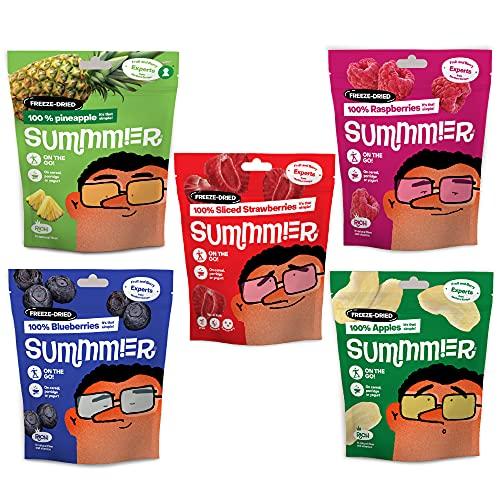 Tasty Freeze Dried Fruit & Berries (60g) - 5 Snack Bags - Strawberries,...