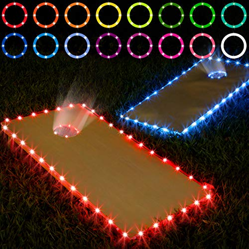 Cornhole Lights, 16 Colors Change Cornhole Board Edge and Ring LED Lights with Remote Control for Family Backyard Bean Bag Toss Cornhole Game, 2 Set (4 × 2 ft)