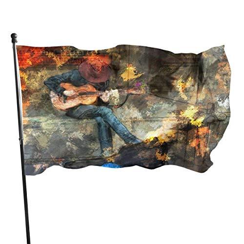 BI HomeDecor Home Garden Flag,Vintage Cowboy Spielt Gitarre Bild Outdoor Garden Flag, Einseitig Bedruckte Familienflaggen Für Hausgarten Dekoration,90cmx150cm
