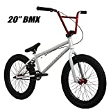 "Elite 20"" & 18"" BMX Bicycle Destro Model Freestyle Bike - 4 Piece Cr-MO Handlebar (20"" Light Grey-Red)"