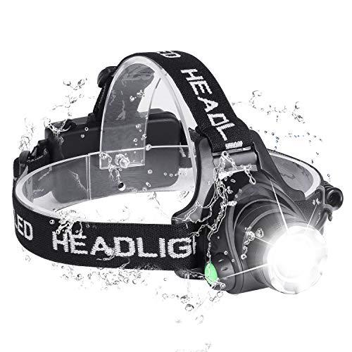 Techove Stirnlampe, Zoomable 6000 Lumen Wasserdichte USB-wiederaufladbare Stirnlampe, 90-Grad-Winkel Verstellbarer LED-Scheinwerfer, 3 Modi leichte LED-Taschenlampe für Camping, Laufen, Wandern