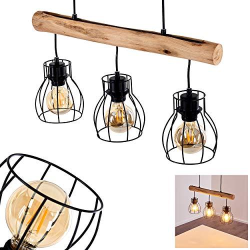 Pendelleuchte Gondo, Hängelampe aus Metall/Holz in Schwarz/Braun, 3-flammig, 3 x E27 max. 40 Watt, moderne Hängeleuchte geeignet für LED Leuchtmittel