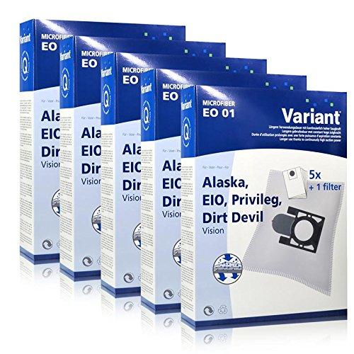 5x Variant EO01 Microvlies Staubsaugerbeutel + Microfilter für Alaska, Privileg, Dirt Devil