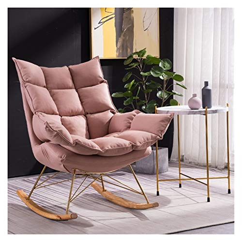 WEIDA Silla Mecedora de Estilo Europeo Silla reclinable Tela Tela de Tela Tela Lazy Sofa Silla Individual Balcón Sillón Silla Multi-Color Opcional 90x60x93cm (Color : Pink)