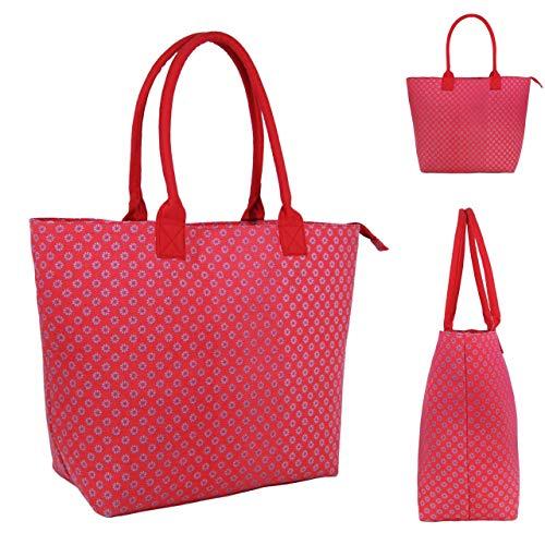 Jazzi Borsa da donna in tela, borsa a tracolla, casual, borsa messenger, borsa pieghevole da spiaggia, borsa da viaggio, 3155 fucsia