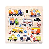 IHGWE Wooden Children's Puzzle 3D Transportation Puzzle, Children's Educational Toy Puzzle, 3D Cute...
