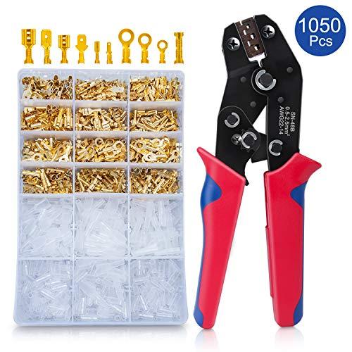 Crimpzange Flachsteckhülsen Set Mit 1050 Stück Kabelstecker 0,5-2,5mm², HOMCA Crimpwerkzeuge Set Ferrule Crimper,Crimpzangen Aderendhülsen Set Für 2.8/4.8/6.3mm Crimpklemme