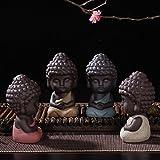 VORCOOL 4 Stücke Mini Buddha Fengshui Figur Tee Tray Teezeremonie Zubehör Auto Ornament Tischdeko(Zufällige Kleidungsfarbe) - 3