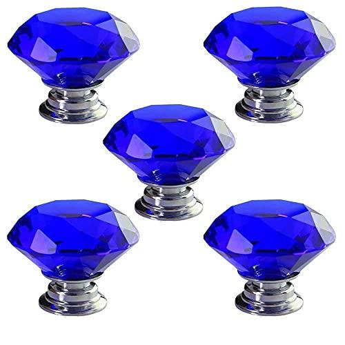5 PCS 30mm Blue Diamond Shape Crystal Glass Cabinet Knob Drawer Knob Maniglia per porta con viti