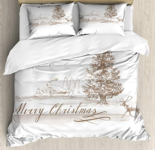 Ambesonne Christmas Duvet Cover Set, Romantic Vintage New Year Scenery with Reindeer Tree and Star Design Image, Decorative 3 Piece Bedding Set with 2 Pillow Shams, Queen Size, Brown