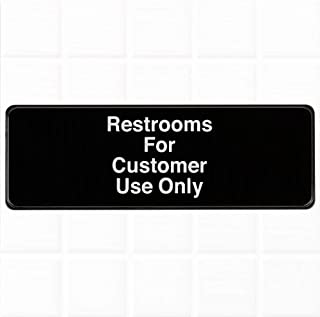 Restrooms for Customer Use Only Sign - Black and White, 9 x 3-inches Bathroom for Customers Only Sign, Restaurant Compliance Signs by Tezzorio
