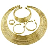 African Jewelry for Women African Statement Jewelry Set 18 K Gold Plated Jewelry for Women Weddings Dubai Gold Necklace Earrings Set