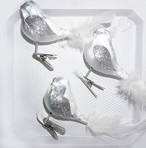 3 TLG. Glas Vogel Set in \'Ice Weiss Silber\' - Christbaumkugeln - Weihnachtsschmuck-Christbaumschmuck