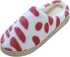 kitt Mens Women's Cute Polka Dot House Slippers Winter Warm Cotton Soft Plush Home Slippers Indoor Outdoor