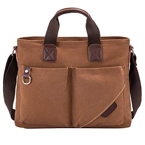 Material:The messenger bag made of high quality cotton canvas,which is soft,sturdy and breathable,can be washed by machine. Dimension:14.96*3.54*11.41(L*W*H),fit 14 inches laptop or macbook.weight is only 1.32 IBS,very lightweight,let you easy to car...
