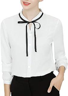 TIFIY Camicia per Donna, Work Office a Maniche Lunghe con Papillon Abbottonato in Chiffon