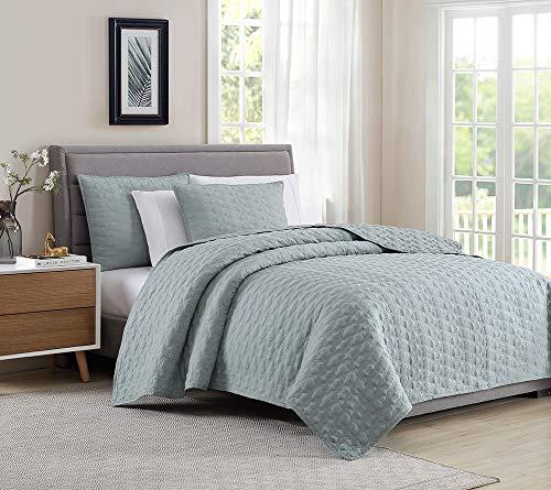 Bourina Reversible Quilt Coverlet Set Queen - Microfiber Lightweight Bedspread 3-Piece Quilt Set, Beige