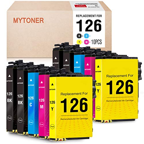 Price comparison product image MYTONER Remanufactured Ink Cartridge Replacement for Epson 126 T126 for Workforce 545 645 845 630 840 WF-3520 WF-3540 WF-7520 WF-7010 Stylus NX430 (4 Black,  2 Cyan Magenta Yellow,  10-Pack)