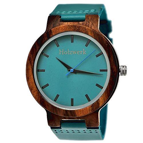 Handgefertigte Holzwerk Germany® Designer Damen-Uhr Herren-Uhr Öko Natur Holz-Uhr Leder Armband-Uhr Analog Klassisch Quarz-Uhr in Blau Türkis (Holzwerk-Blau-Türkis)