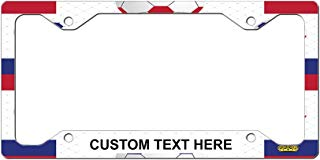 Custom License Plate Frame Liechtenstein Flag Soccer Aluminum Cute Car Accessories Narrow Top Personalized Text Here One Frame