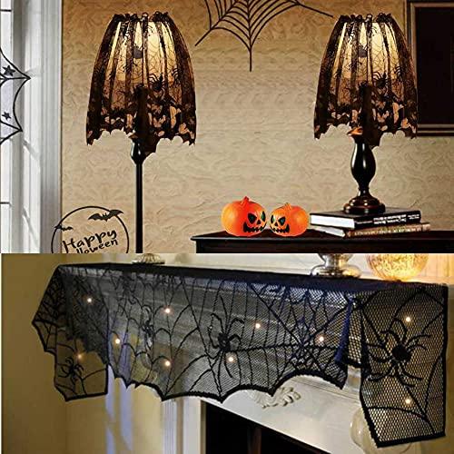 Paralume in pizzo per Halloween, 3 pezzi, decorazione a ragno di Halloween, decorazione in pizzo, colore nero, per caminetto, sciarpa, pistrello, tovaglia per decorazioni per case e giardini, casette