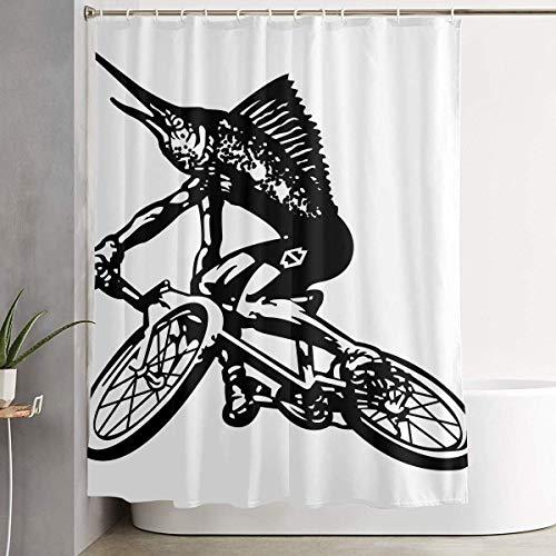 GSEGSEG Marlin Fish Bicicletta Vintage Mountain Bike Bagno Doccia Tenda Decorativa Wc Celebrate Ornament Plettri Stampe Tutti gli accessori Vendita Interni Casa Bagno Decorazione