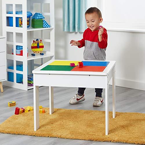 Liberty House Toys with top Wooden Activity Table mit reversiblem Oberteil, Holz, weiß, 58.0 x 58.0 x 48.0 cm