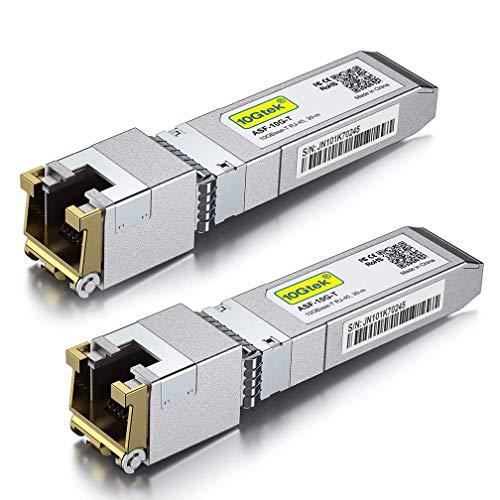 [2-pack] 10Gb SFP+ RJ45 kopparmodul – 10GBase-T SFP+ sändare kompatibel med Cisco SFP-10G-T-S, Ubiquiti UF-RJ45-10G, Netgear, Mikrotik S+RJ10, TP-Link, D-Link