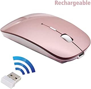 2win2buyau Rechargeable Wireless Mouse,2.4G Optical Sensor Ultra Slim Mice + USB Receiver for Notebook, PC, Laptop, Computer, MacBook (Rose Gold)