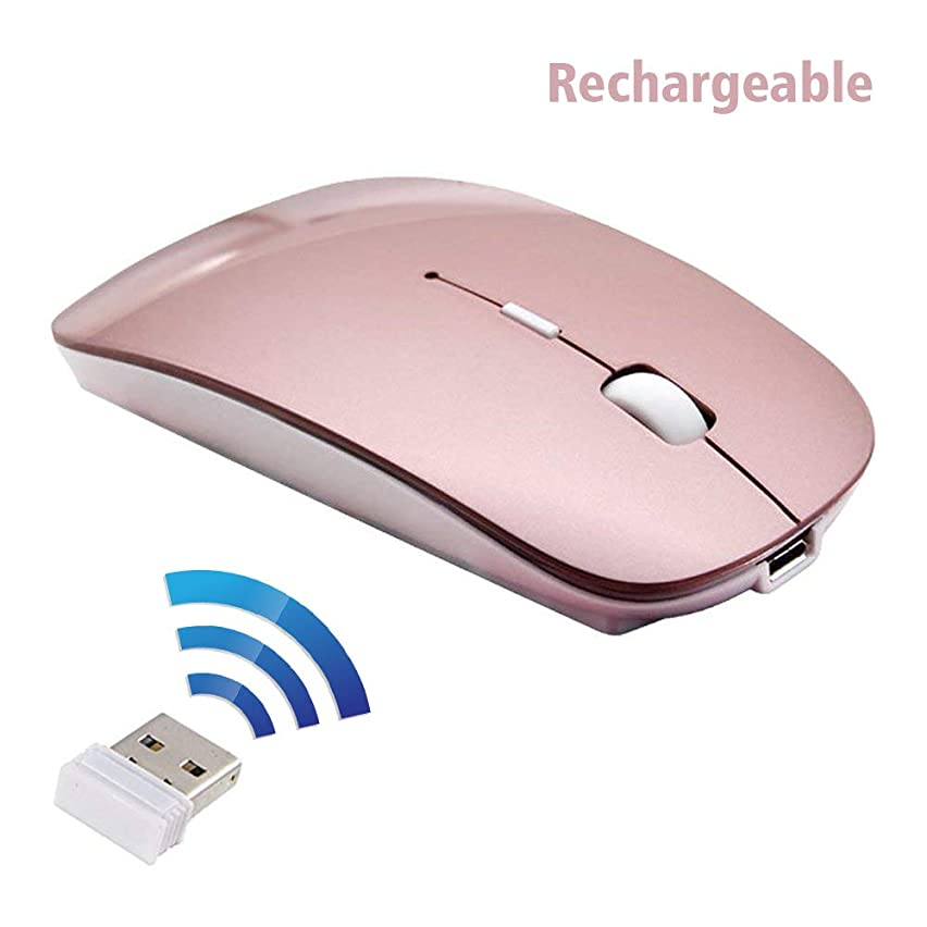 Rechargeable Wireless Mouse, 2win2buy 2.4G Optical Sensor Slim Cordless Mice with Nano USB Receiver (Stored in Back of The Mouse) for PC, Laptop, Computer, Notebook, Desktop - Rose Gold