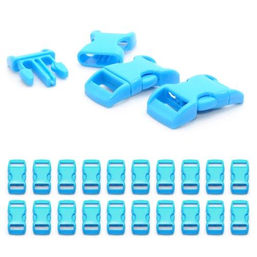 """Fermoir à clip en plastique, idéal pour les paracordes (bracelet, collier pour chien, etc), boucle, attache à clipser, grandeur: 3/8"""", 29mm x 15mm, couleur: bleu clair, de la marque Ganzoo - lot de 20 fermoirs"""